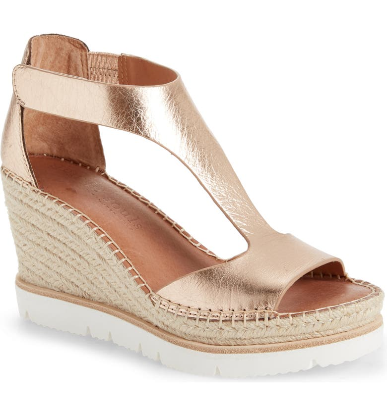 GENTLE SOULS BY KENNETH COLE Elyssa T-Strap Wedge Sandal, Main, color, ROSE GOLD METALLIC LEATHER