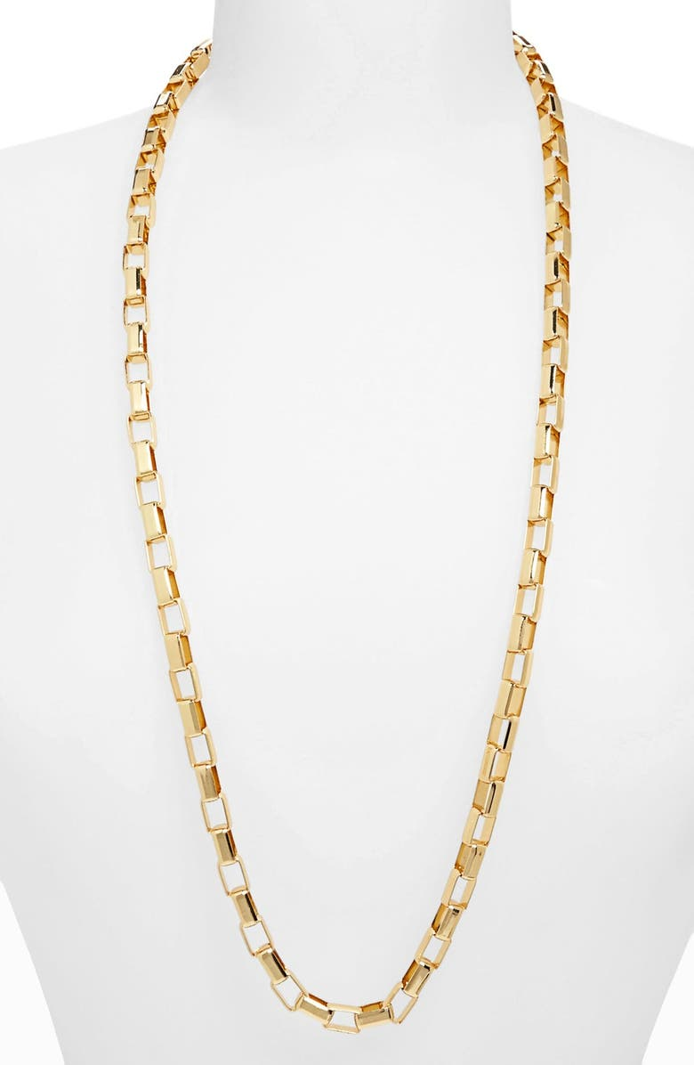 TOPSHOP 'Flat Rectangle' Chain Necklace, Main, color, Gold
