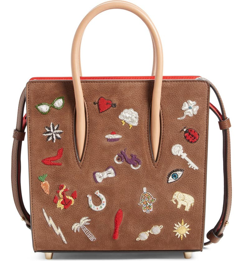 CHRISTIAN LOUBOUTIN 'Small Paloma - Charms' Embellished Calfskin Leather Tote, Main, color, VERSION CHATAIN