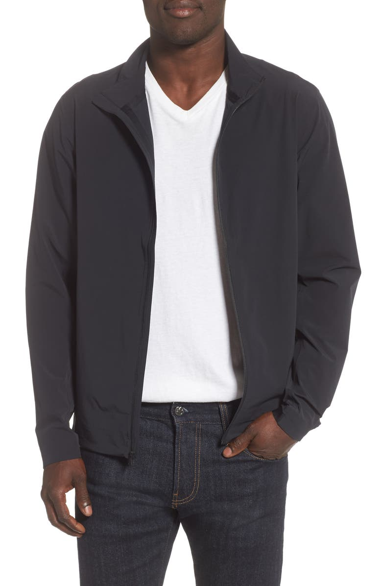 REIGNING CHAMP Stretch Nylon Track Jacket, Main, color, 001