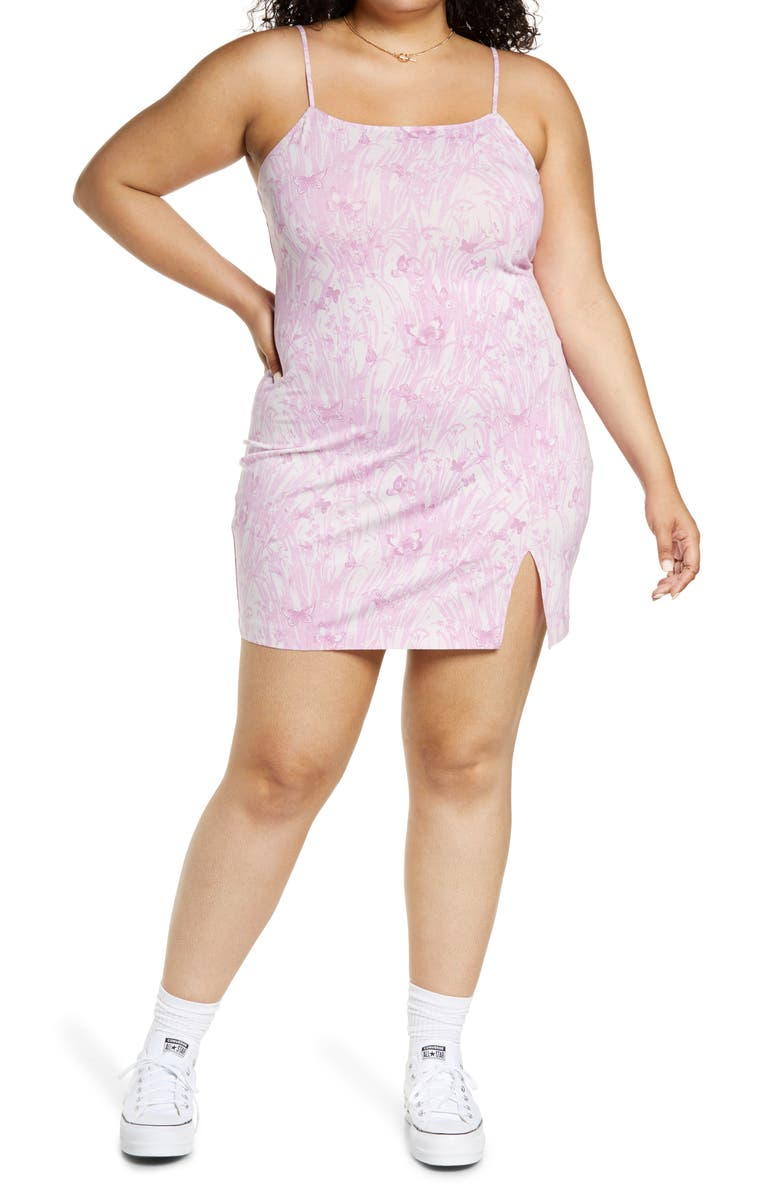 BP. Stretch Cotton Body-Con Minidress, Main, color, PINK GRASSY BUTTERFLY