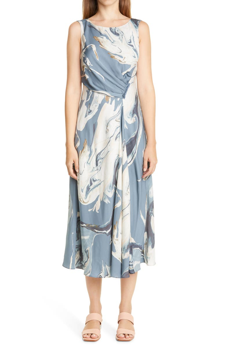 LAFAYETTE 148 NEW YORK Anita Marbled Midi Dress, Main, color, OCEANA MULTI