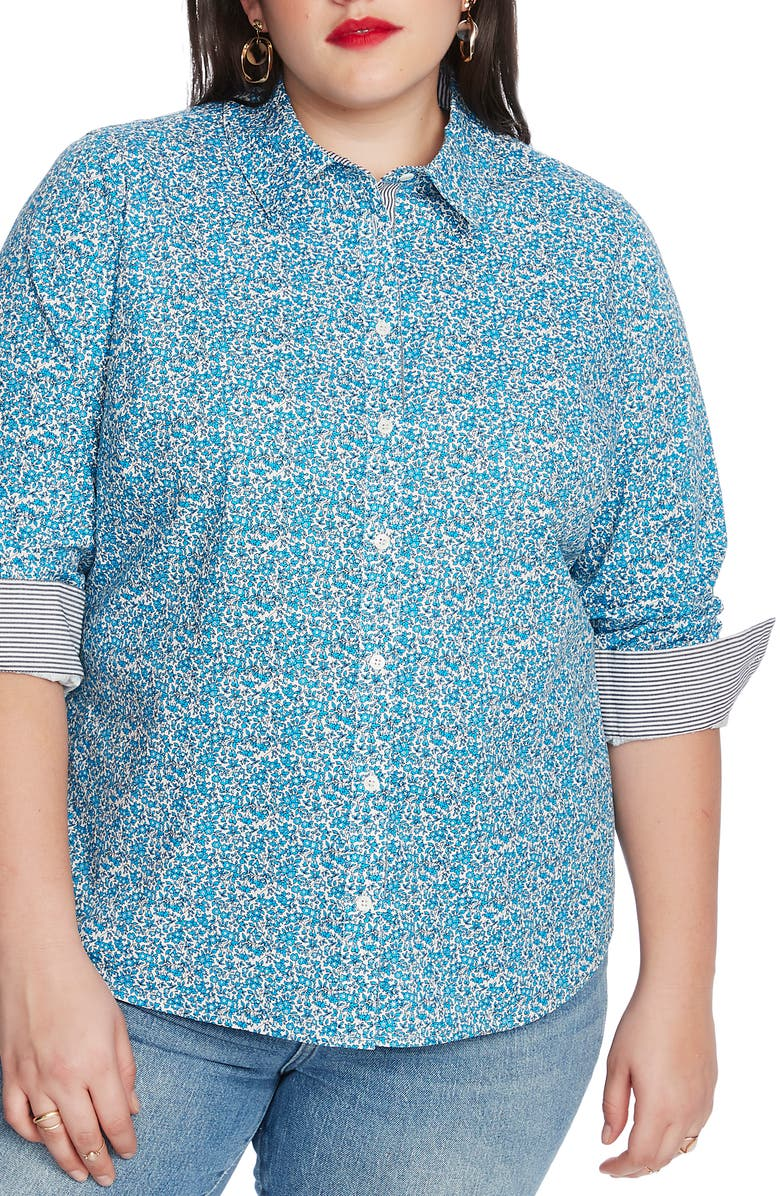 COURT & ROWE Sweet Ditsy Fields Print Shirt, Main, color, 419