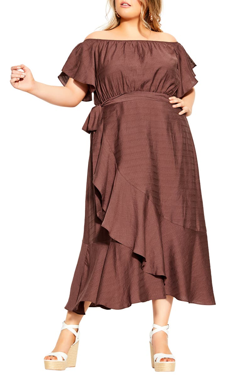 CITY CHIC Inspiration Off the Shoulder Tiered Dress, Main, color, MINK