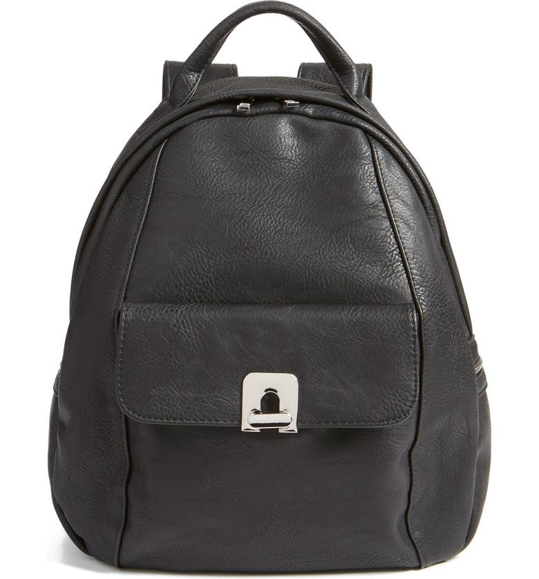 BP. Faux Leather Backpack, Main, color, Black