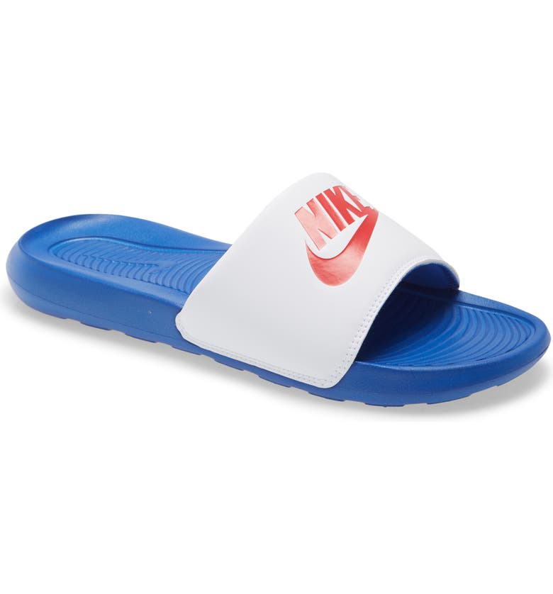 NIKE Victori One Sport Slide, Main, color, WHITE/ RED/ ROYAL