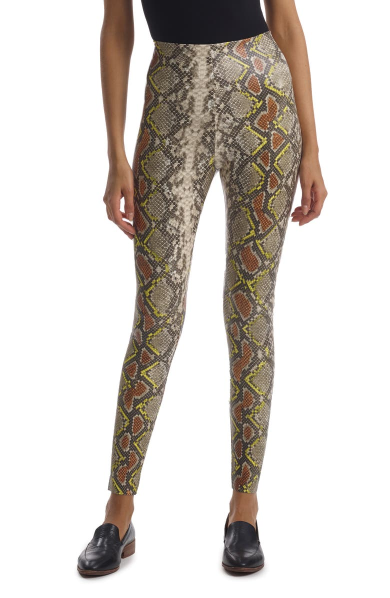 COMMANDO Reptile Embossed Faux Leather Leggings, Main, color, NEON SNAKE