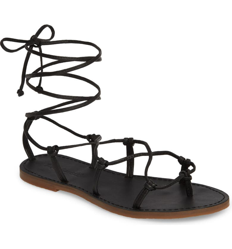 MADEWELL The Boardwalk Lace-Up Sandal, Main, color, 001