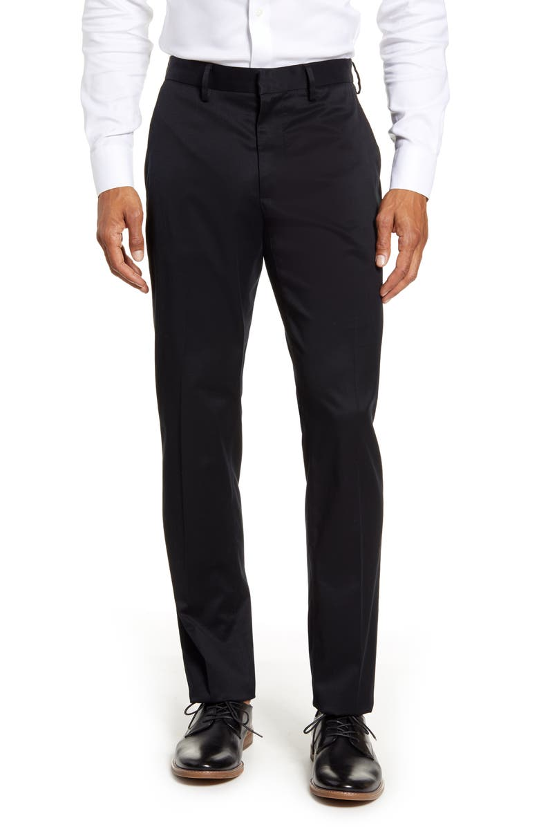 NORDSTROM MEN'S SHOP Nordstrom Athletic Fit Leg Non-Iron Chinos, Main, color, BLACK CAVIAR