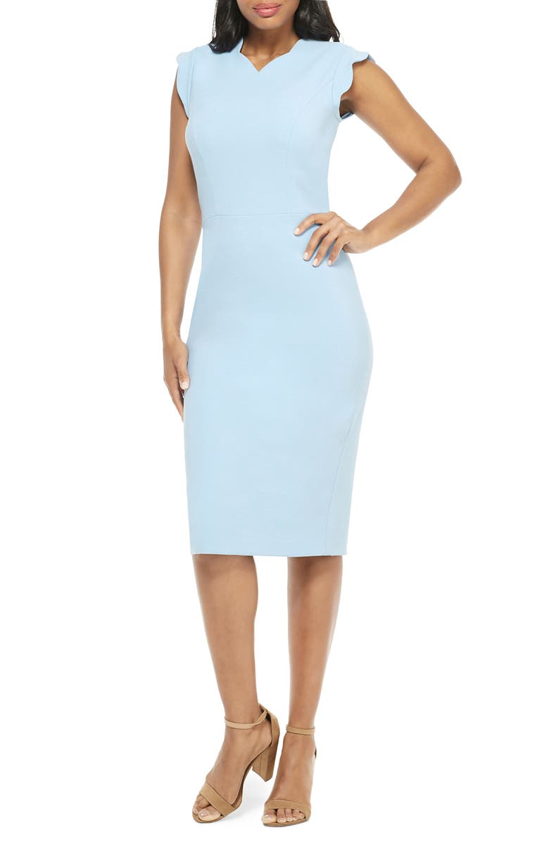MAGGY LONDON Lucy Scallop Cap Sleeve Sheath Dress, Main, color, 450