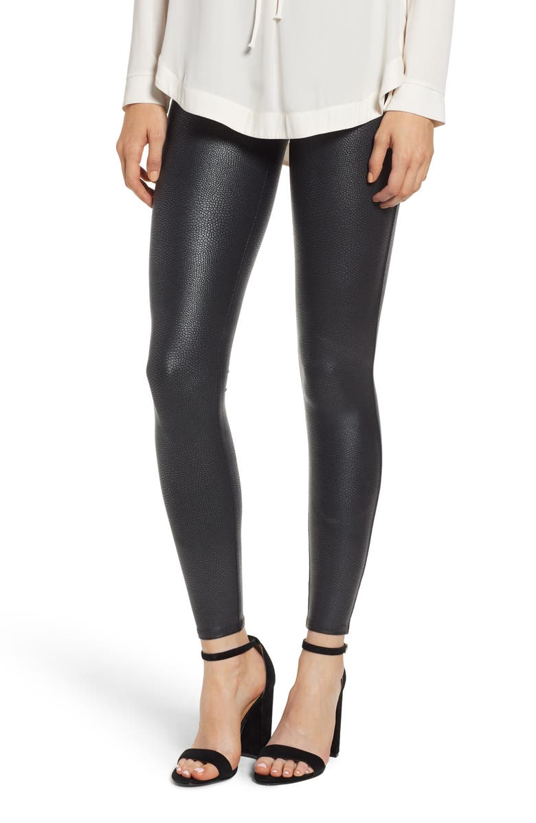 SPANX<SUP>®</SUP> Pebbled Faux Leather Leggings, Main, color, PEBBLE GREY