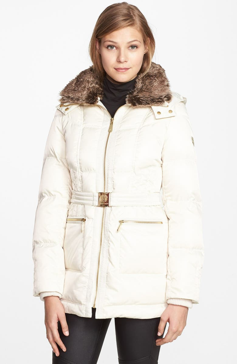 VINCE CAMUTO Faux Fur Collar Down & Feather Parka, Main, color, 100