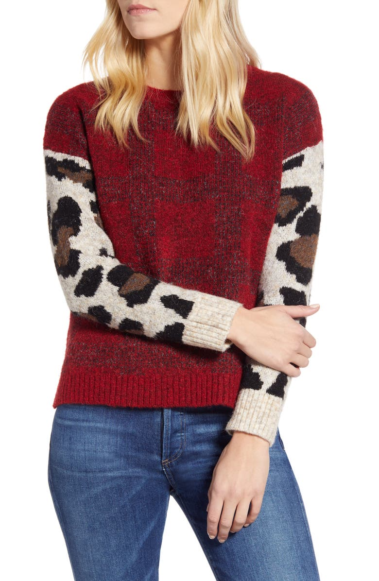 RD STYLE Leopard Sleeve Sweater, Main, color, 600