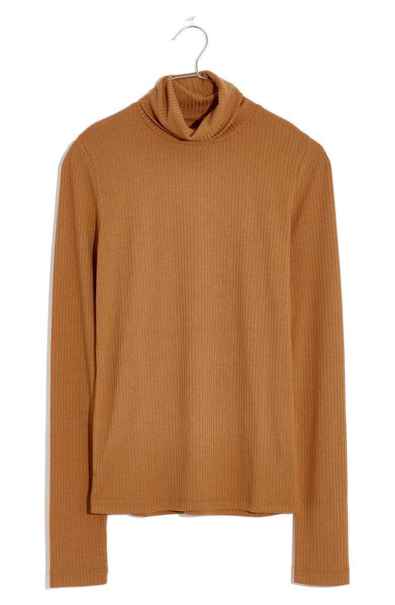 MADEWELL Lightweight Ribbed Turtleneck Top, Main, color, TOFFEE
