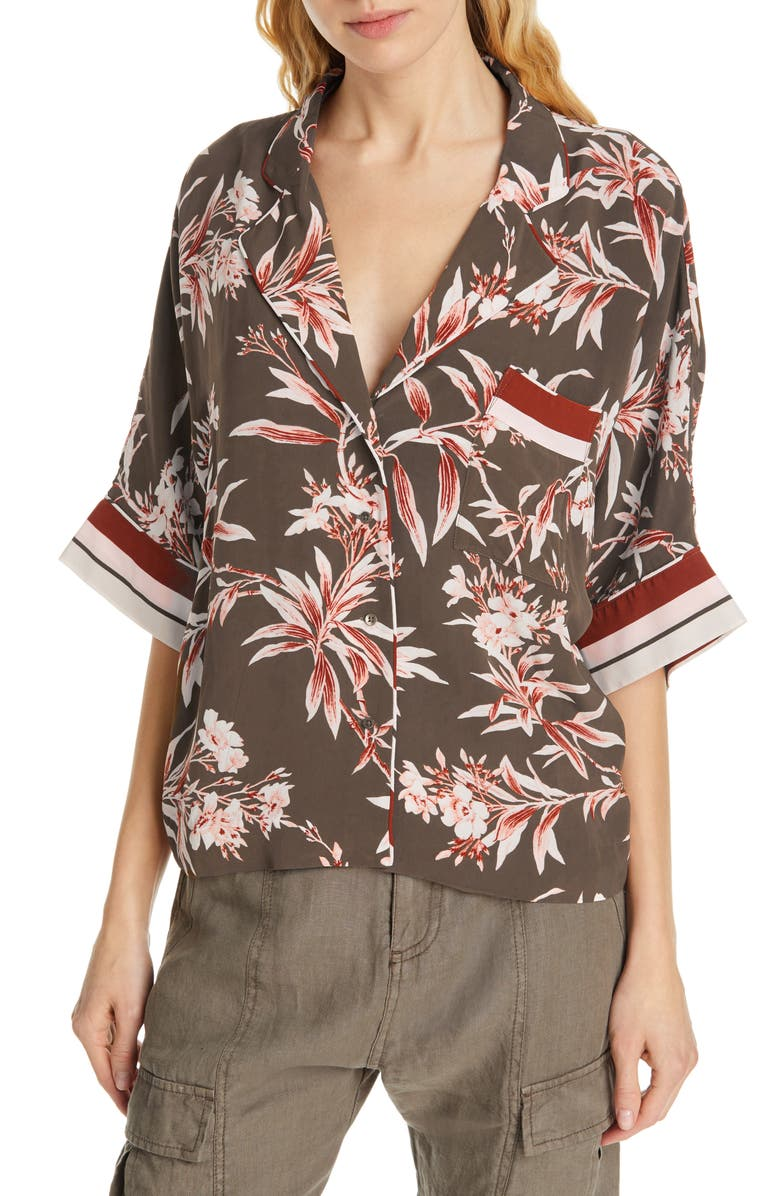 JOIE Bayley Tropical Print Stripe Contrast Top, Main, color, 301