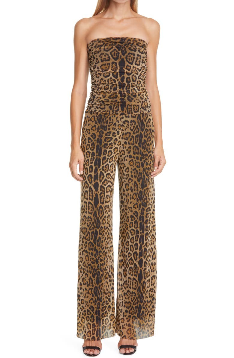 FUZZI Leopard Print Strapless Mesh Jumpsuit, Main, color, CAMMELLO