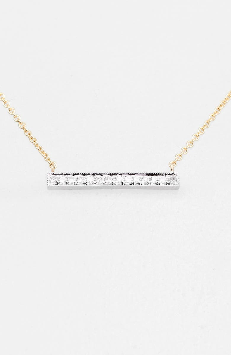 DANA REBECCA DESIGNS 'Sylvie Rose' Medium Diamond Bar Pendant Necklace, Main, color, YELLOW GOLD