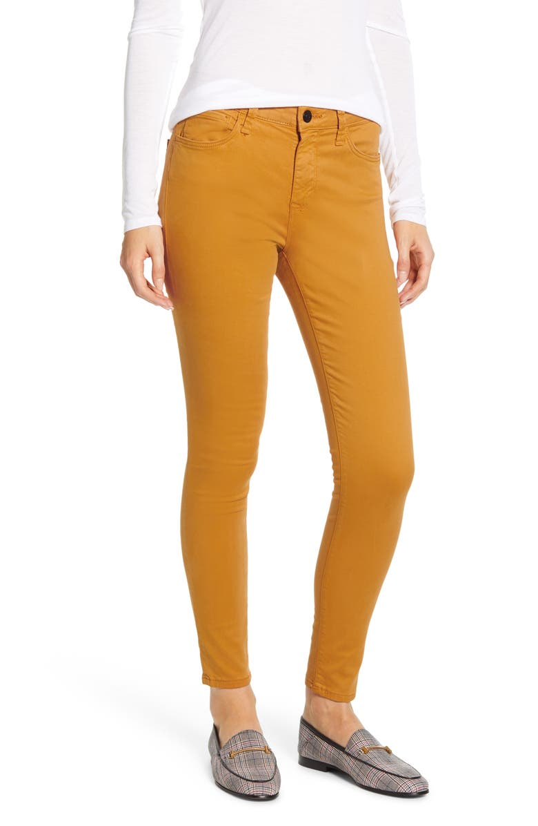 MAVI JEANS Alissa Stretch Sateen Skinny Pants, Main, color, INCA GOLD SATEEN