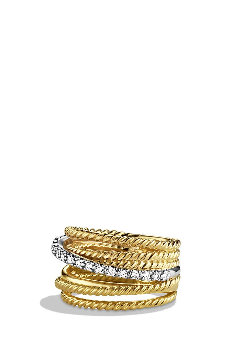 DAVID YURMAN DY Crossover Ring with Diamonds in Gold, Main, color, DIAMOND