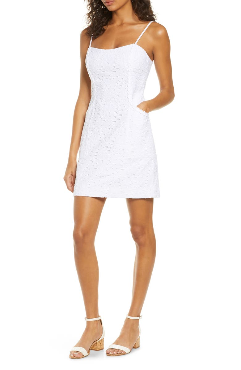 LILLY PULITZER<SUP>®</SUP> Shelli Cotton Eyelet Sheath Sundress, Main, color, 115