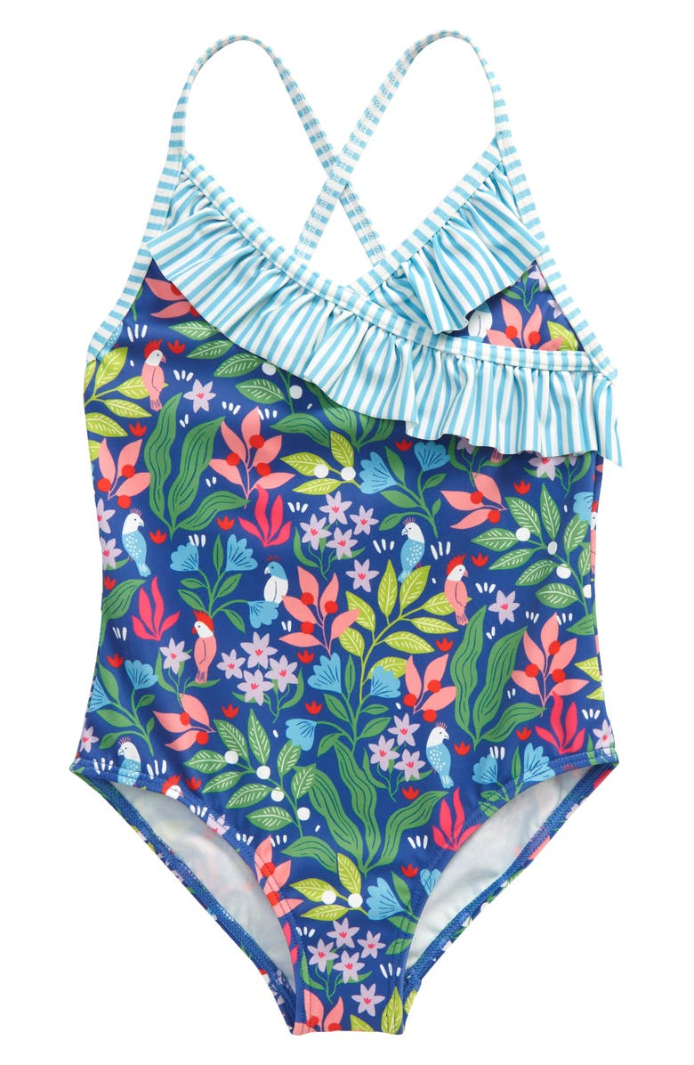 MINI BODEN Kids' Wrap Front One-Piece Swimsuit, Main, color, VENICE BLUE TROPICAL GARDEN