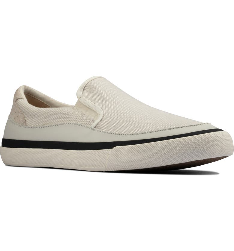 CLARKS<SUP>®</SUP> Aceley Slip-On Sneaker, Main, color, WHITE CANVAS