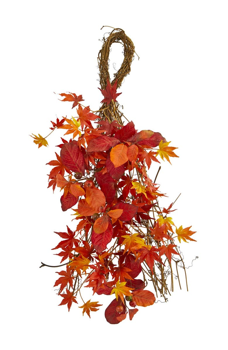 """NEARLY NATURAL 26"""" Mixed Japanese Maple, Magnolia Leaf & Berries Artificial Teardrop Plant, Main, color, RED"""