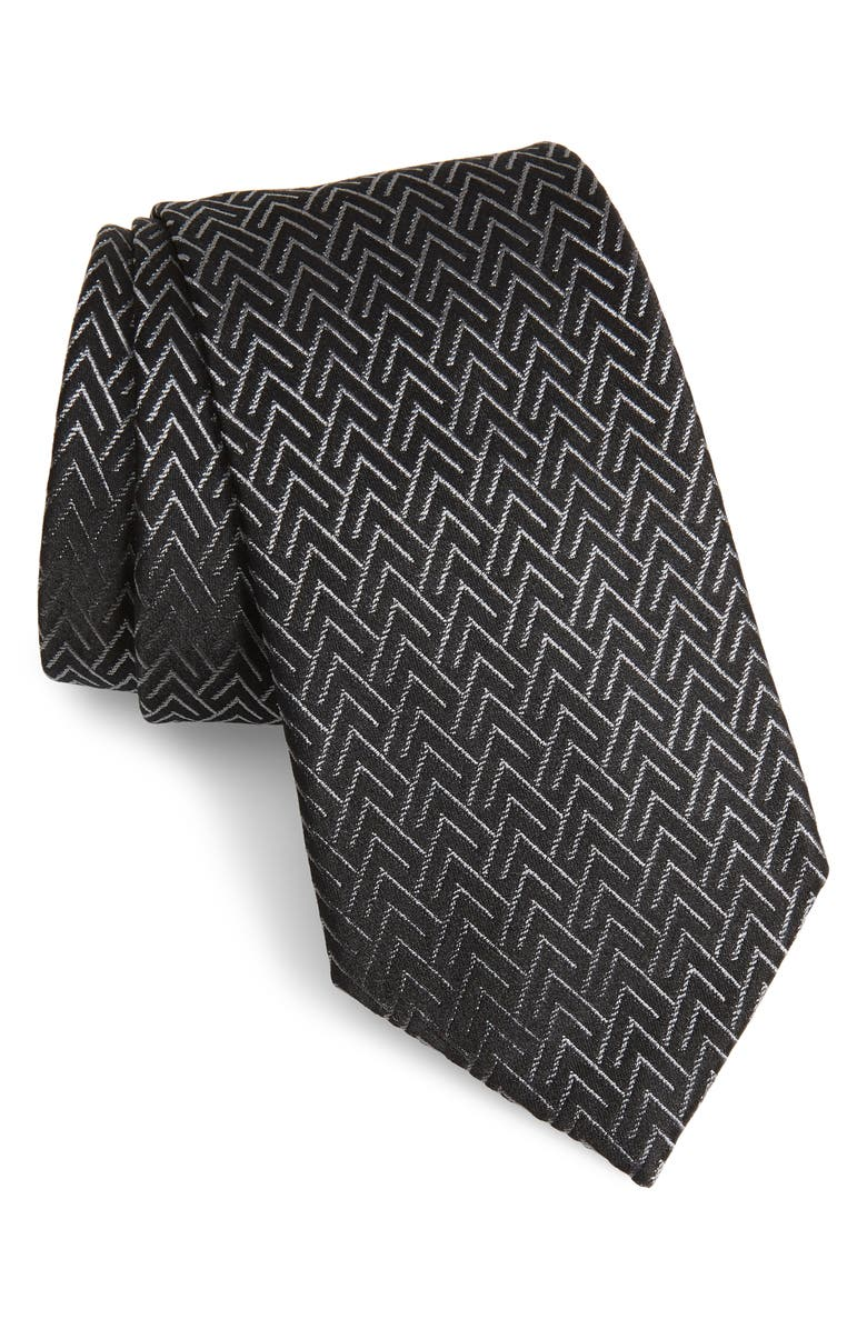 EMPORIO ARMANI Geometric Silk Blend Tie, Main, color, 001