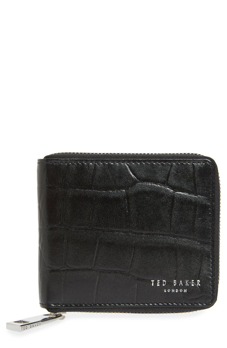 TED BAKER LONDON Shoppa Leather Zip Wallet, Main, color, 001