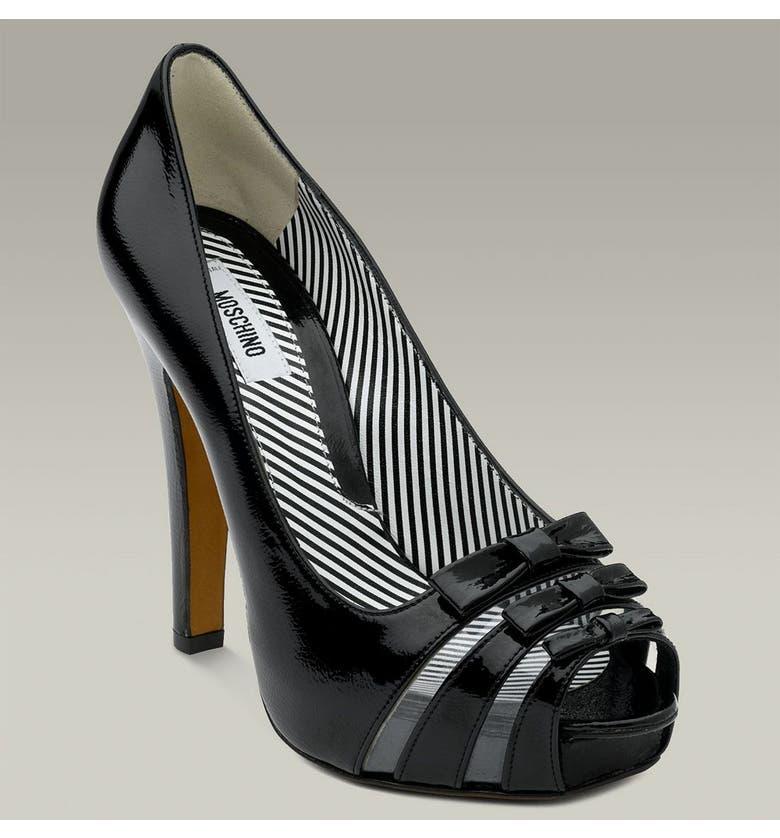 MOSCHINO Platform Pump with Triple Bow Detail, Main, color, BLACK PATENT