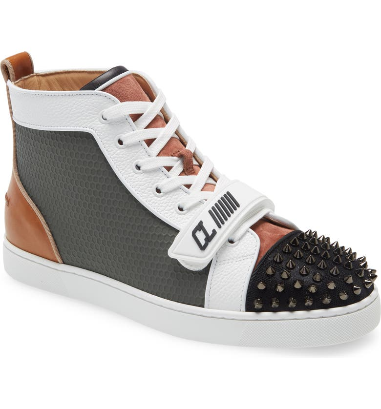 CHRISTIAN LOUBOUTIN Louis Orlato Spikes High Top Sneaker, Main, color, Black
