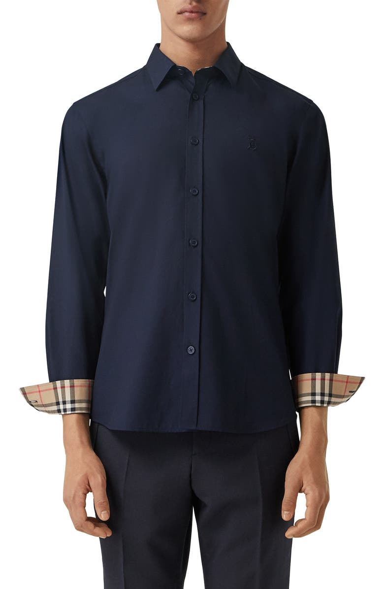 BURBERRY Sherwood Monogram Motif Slim Fit Stretch Poplin Button-Up Shirt, Main, color, NAVY