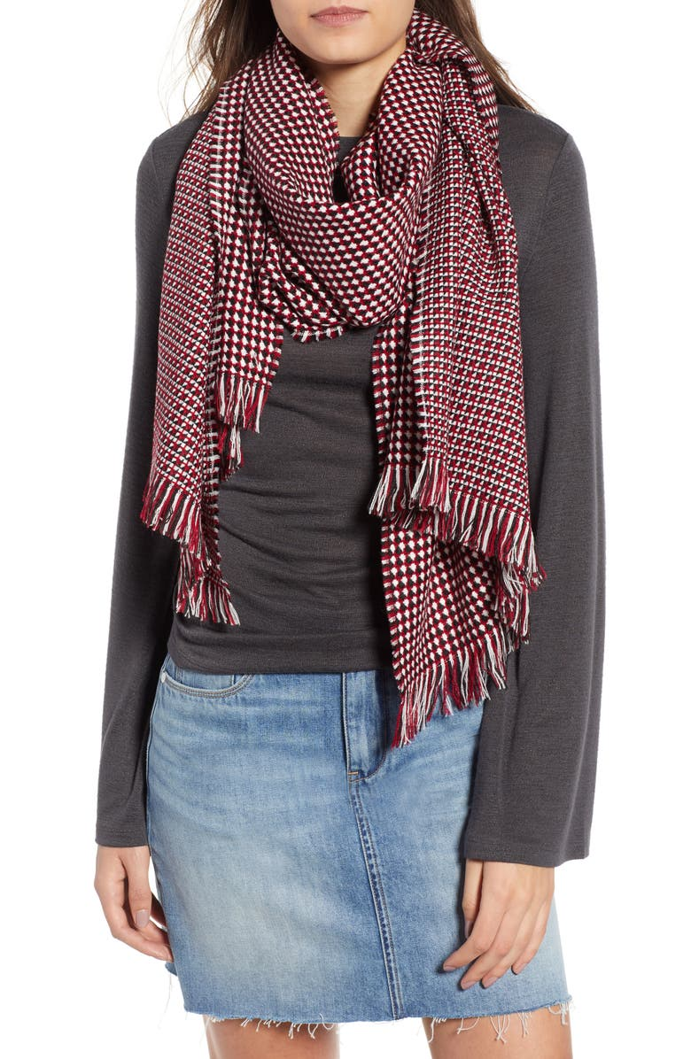 LEITH Waffle Grid Oblong Scarf, Main, color, 600