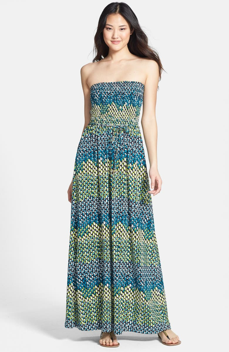ANNE KLEIN Abstract Dot Print Strapless Maxi Dress, Main, color, 310