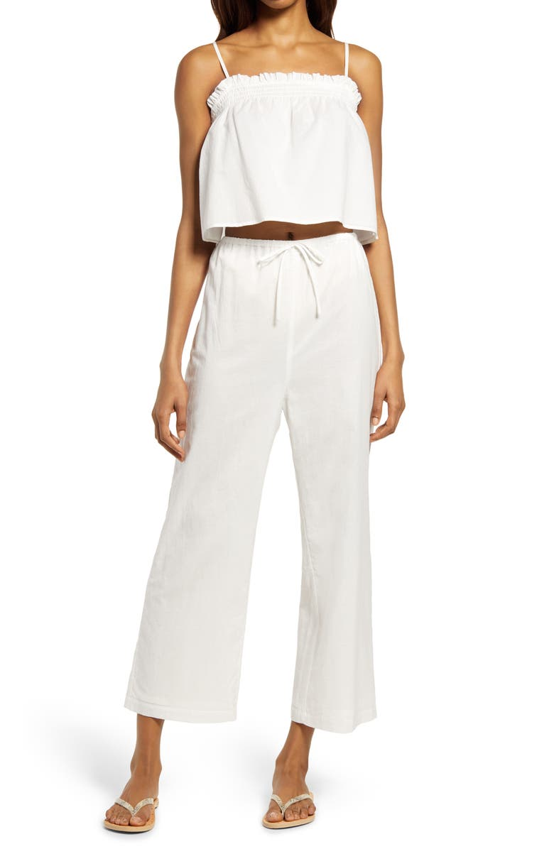 REFORMATION Tanager Camisole & Wide Leg Pants, Main, color, WHITE