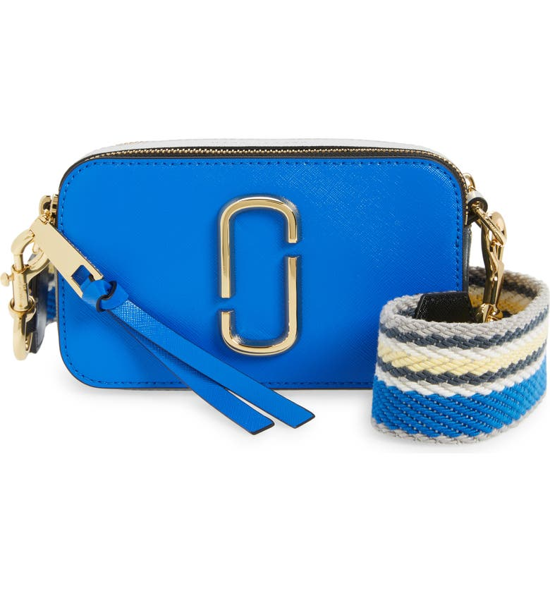 MARC JACOBS The Snapshot Leather Crossbody Bag, Main, color, NEW DAZZLING BLUE MULTI