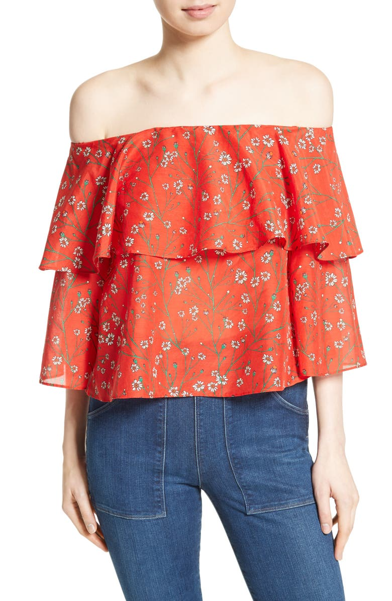 ALICE + OLIVIA Meagan Double Layer Off the Shoulder Top, Main, color, 602