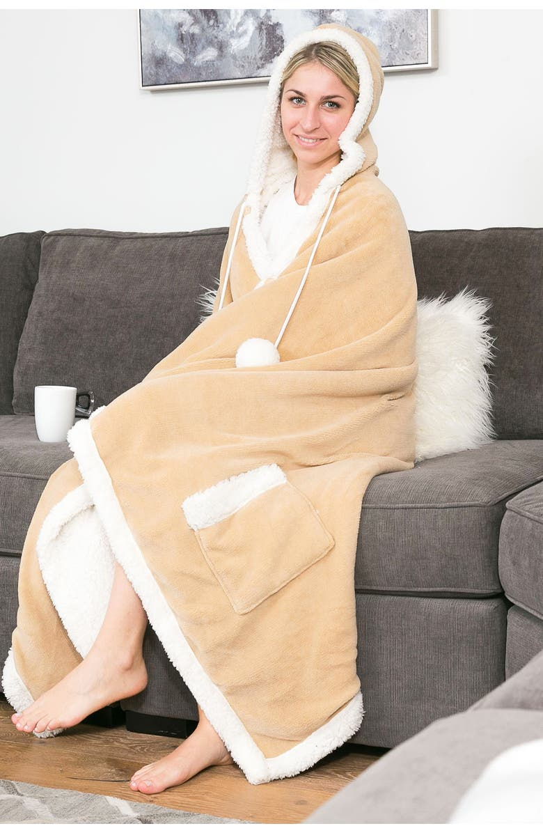 CHIC Yatco Faux Shearling Lined Snuggle Hoodie - Camel, Main, color, CAMEL