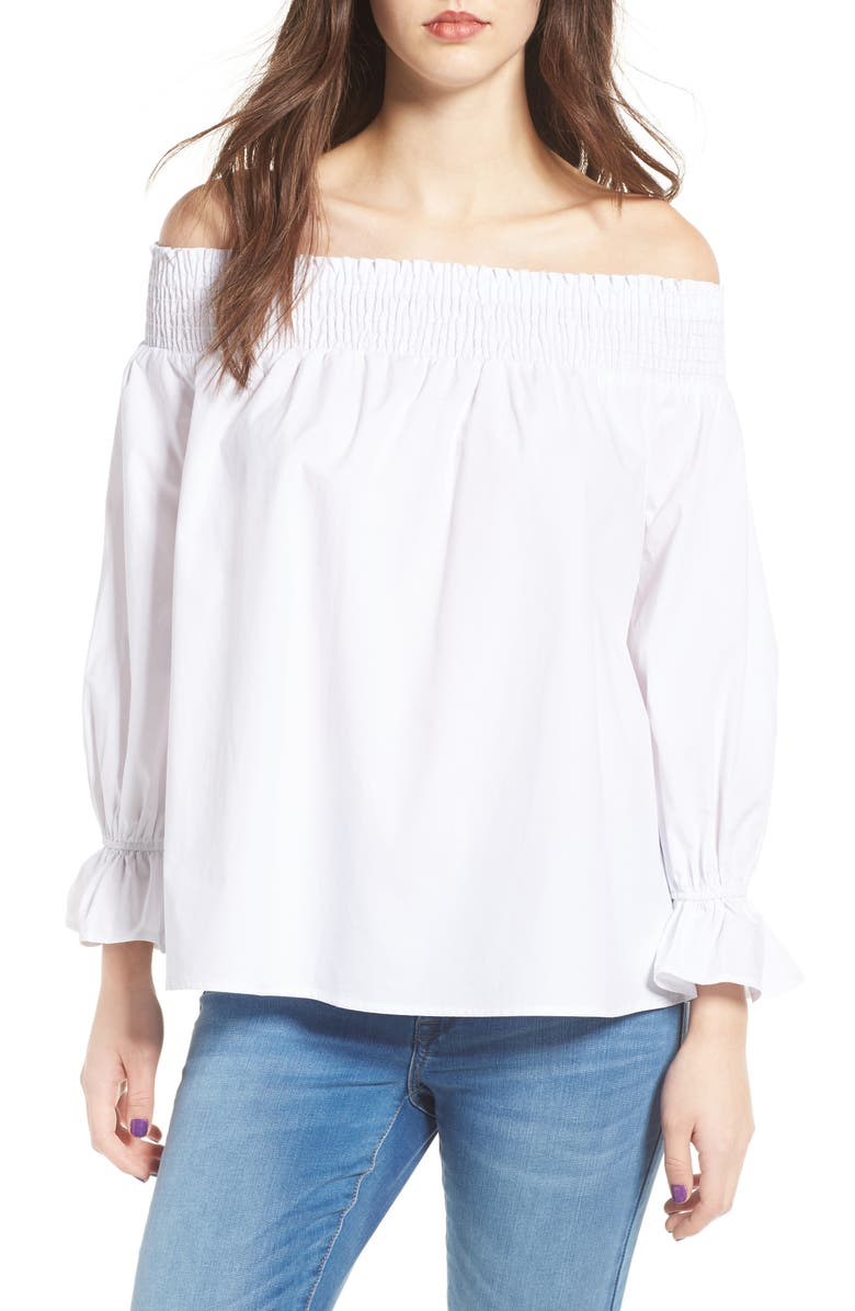 SOPRANO Bow Off-the-Shoulder Top, Main, color, White