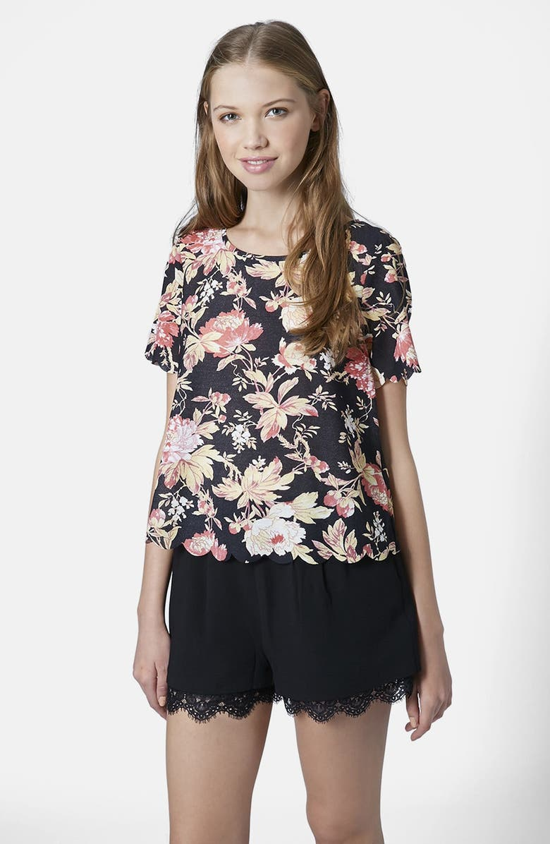 TOPSHOP Flower Scallop Tee, Main, color, 001