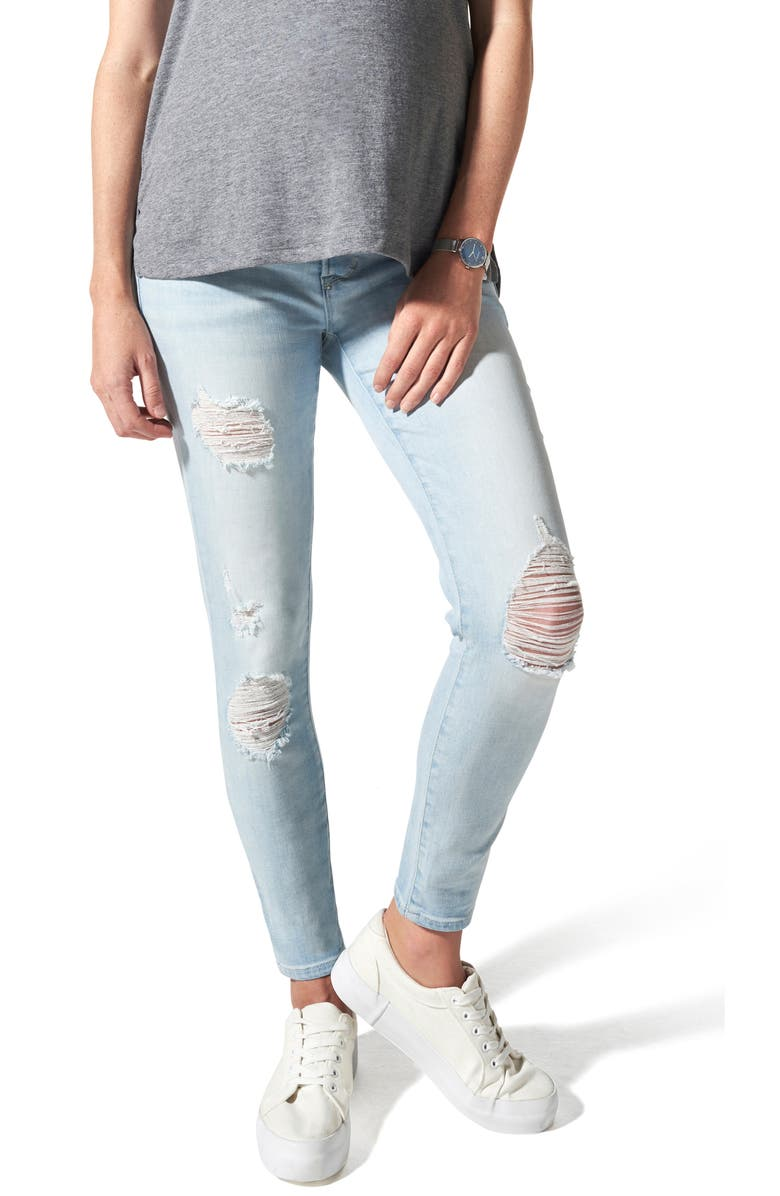 BLANQI Ripped Belly Support Maternity Skinny Jeans, Main, color, LIGHT WASH