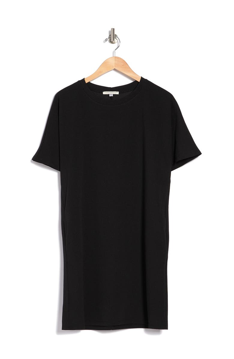 TASH AND SOPHIE Liverpool Tee Shirt Dress, Main, color, BLK