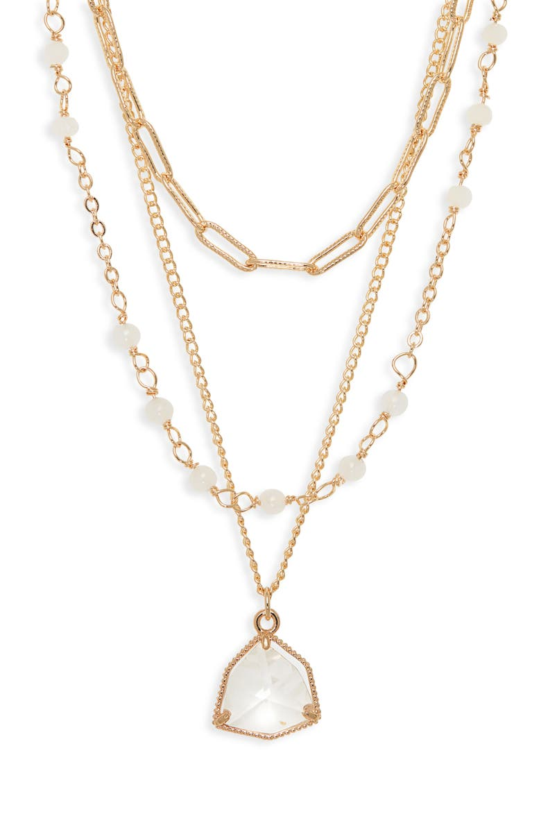 NORDSTROM Halogen<sup>®</sup> Tiered Bead & Stone Necklace, Main, color, CLEAR- WHITE- GOLD