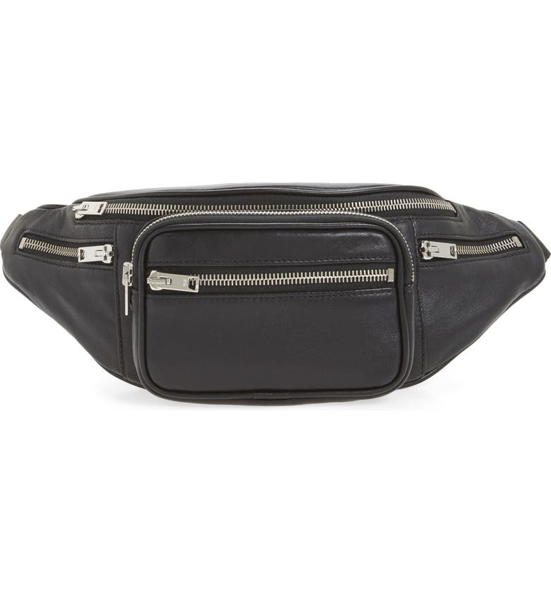 ALEXANDER WANG Washed Leather Fanny Pack, Main, color, 001