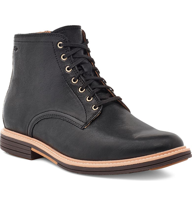 UGG<SUP>®</SUP> Chandon Plain Toe Boot, Main, color, BLACK LEATHER