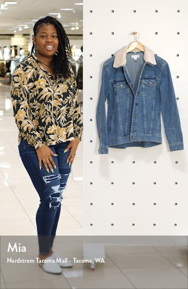 Denim Jacket with Removable Faux Shearling Collar, sales video thumbnail