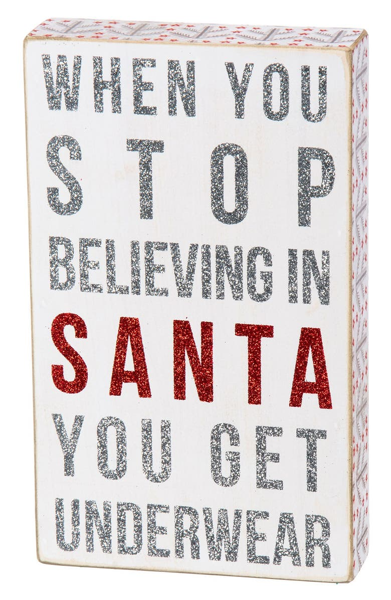 PRIMITIVES BY KATHY 'When You Stop Believing' Box Sign, Main, color, WHITE MULTI