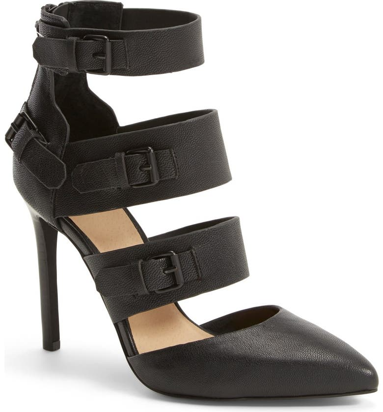 JOE'S 'Giddy' Leather Pointy Toe Pump, Main, color, BLACK LEATHER
