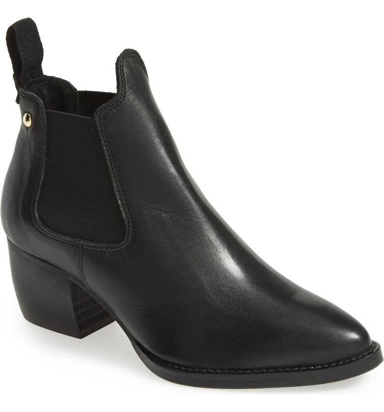 TOPSHOP 'Margot' Leather Ankle Bootie, Main, color, 001