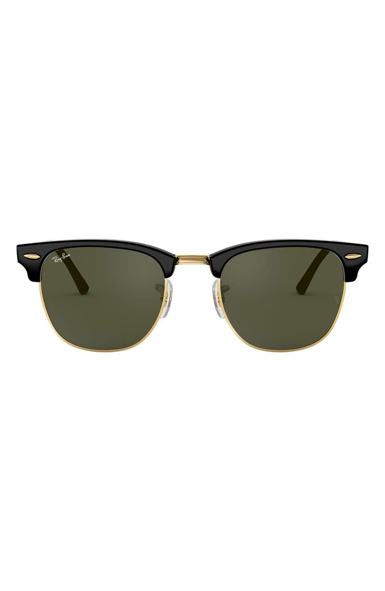 RAY-BAN Clubmaster 51mm Sunglasses, Main, color, BLACK